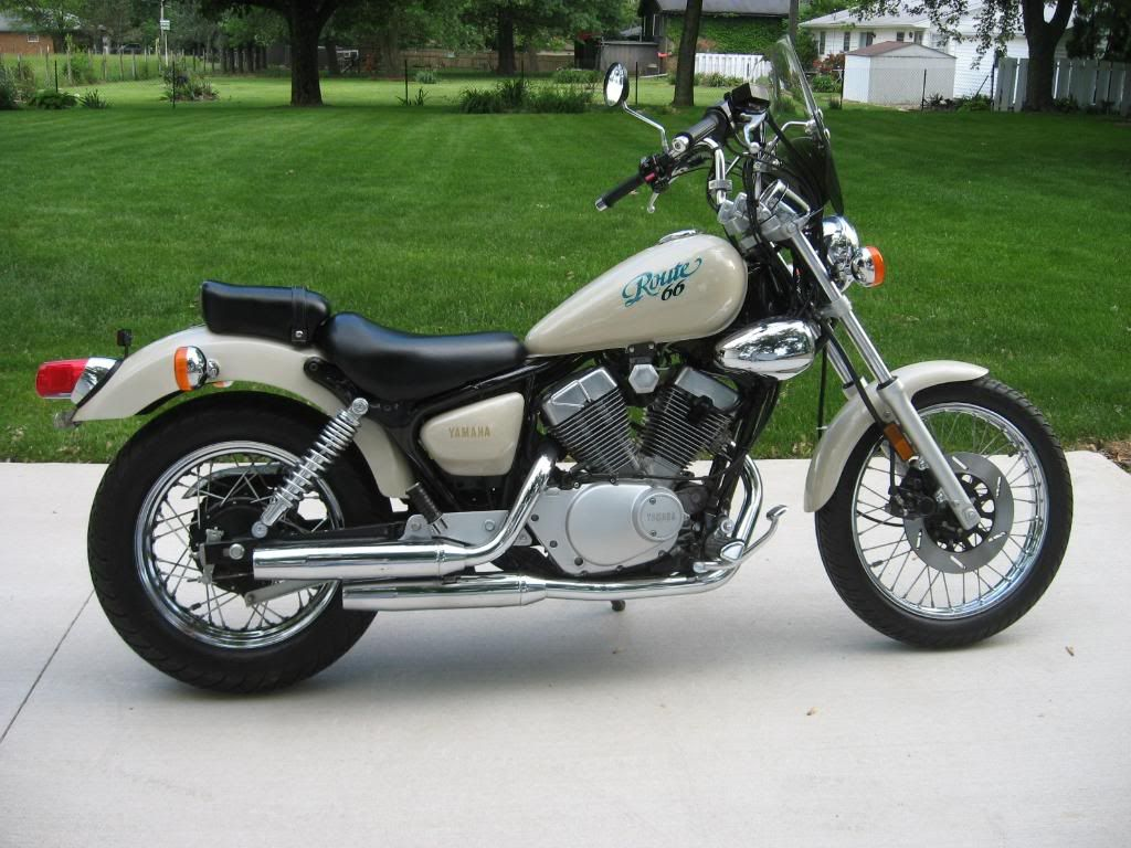 1990 Yamaha XV250 Route 66 (shown in rare pearl white) - The Route 66 was  only made three years...'88, '89, '90. Then it came back in '99 as the Virago  250.