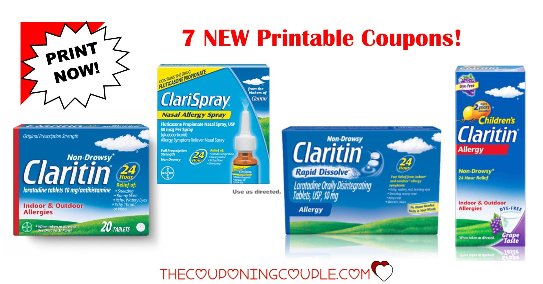 image regarding Claritin Printable Coupons named 6 Claritin Printable Coupon codes ~ $32 inside of Cost savings - PRINT At the moment