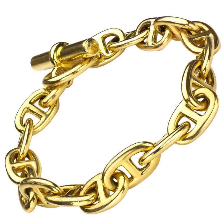 18cfc81f99e65d HERMES Paris Chaine D'ancre Gold Anchor Toggle Bracelet M/M Sz ...