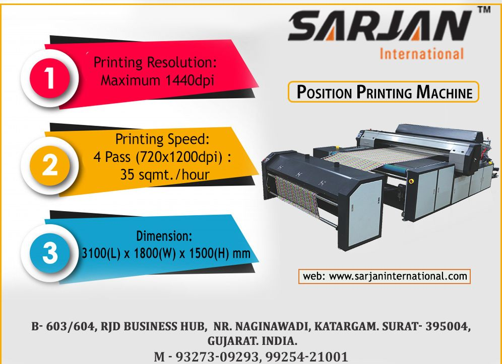 Position Printing Machine - gives the best result on the fabric  It