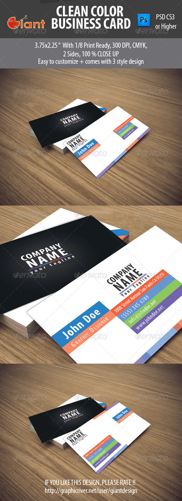 Clean Color Business Card by giantdesign | GraphicRiver ...