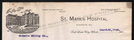 St Mark S Hospital Was Initially Established To Care For Miners A Sum Of 1 50 Was Taken Out Of Each Miners Paycheck To Pay For S Letterhead Holy Cross Marks