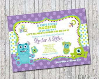 Check out Monsters Inc Inspired Baby Shower Invitation on