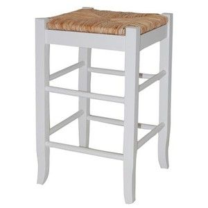 Boraam 94324 Square Rush Seat Stool 24 Inch White Counter