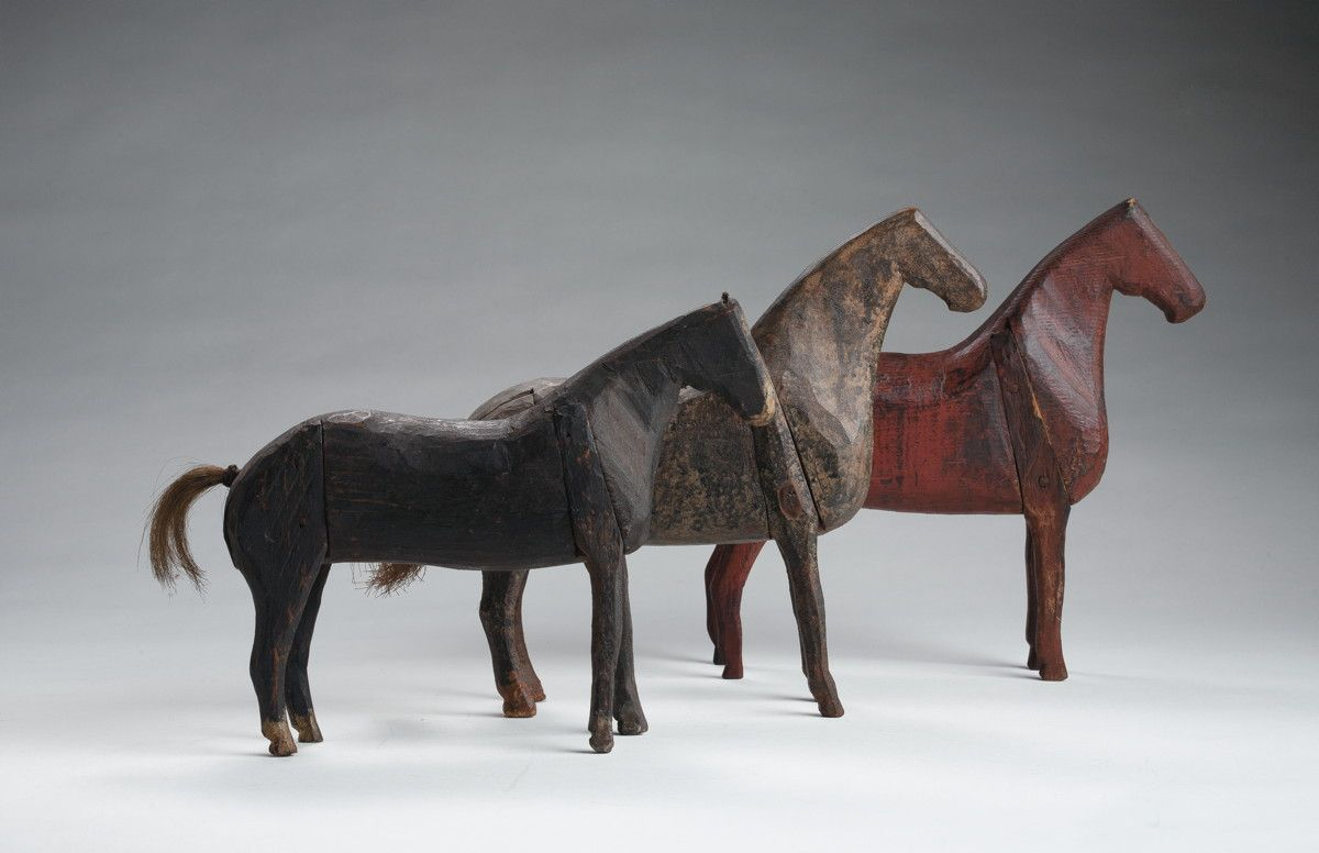 c. 1830-1900 carved and painted horses - I wish somebody would make me one of these, with or without a Dala horse paint job.