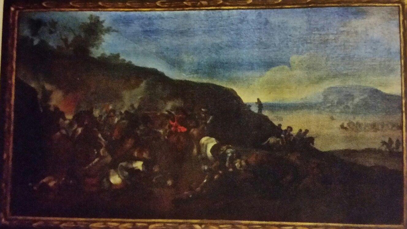 MICHELANGELO CERQUOZZI called  MICHELANGELO DELLE BATTAGLIE o DELLE BAMBOCCIATE  ( Rome 1602 - 1660 ). BATTLE BETWEEN CHRISTIAN KNIGHTS. oil on canvas. 83 × 151,5 cm. Private Collection.