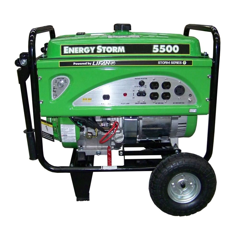 Lifan Energy Storm 5 000 Watt Gasoline Powered Portable Generator With Voltage Selector Switch Es5500 14 The Home Depot Portable Generator Generation Storm