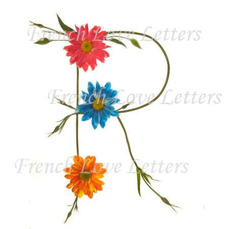 Letter R Daisy Design Alphabet Word Art 8x10 By