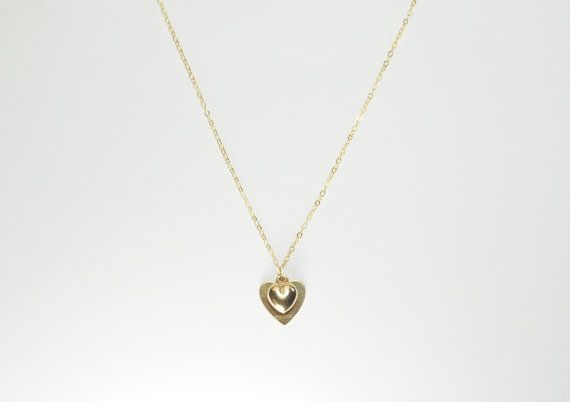 14K Gold Filled Double Heart Necklace