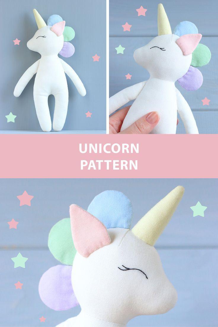 PDF Unicorn Sewing Pattern & Tutorial — DIY Unicorn Doll, Soft Toy, Animal Doll Pattern, Cloth Doll, Stuffed Animal Pattern, Nursery Decor #stuffedtoyspatterns
