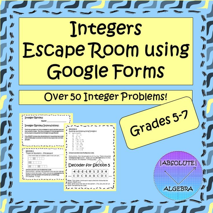 Integer Review Escape Room using Google Forms | Teaching ...