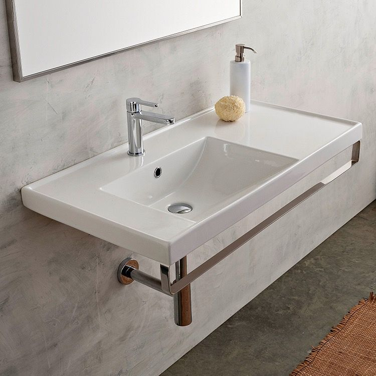 Rectangular Wall Mounted Ceramic Sink With Polished Chrome Towel