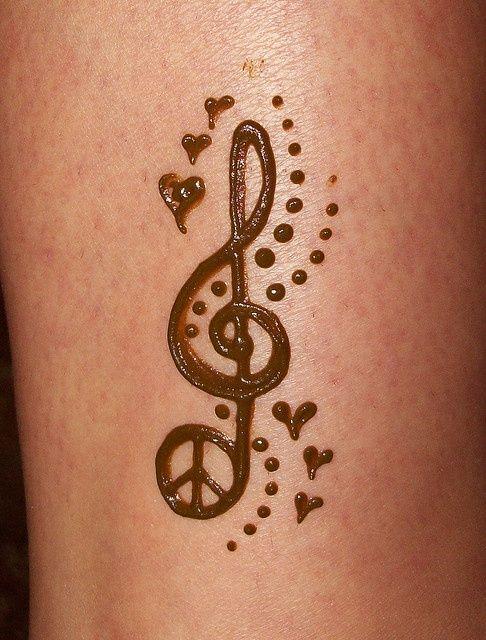 Henna Tattoo Designs For Love: Peace Symbol And Violen Key Tattoo