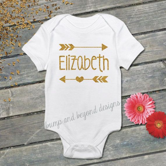 Personalized Name Shirt Gold Glitter Arrow Baby Girl Clothing, Shirt, by BumpAndBeyondDesigns