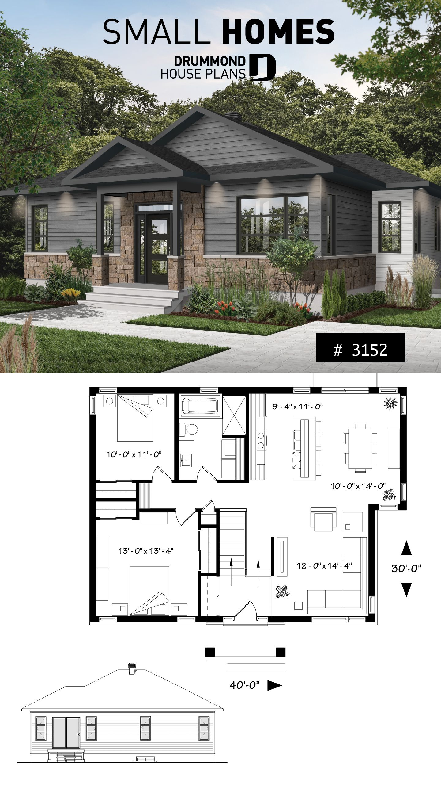 2 Bedroom Rustic Modern Home Plan Split Entry Large