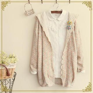 Buy Fairyland Lace Trim Melange Hooded Cardigan With Free International Shipping At Yesstyle Com Browse And Sho Knit Outerwear Fashion Sweater Knit Jacket