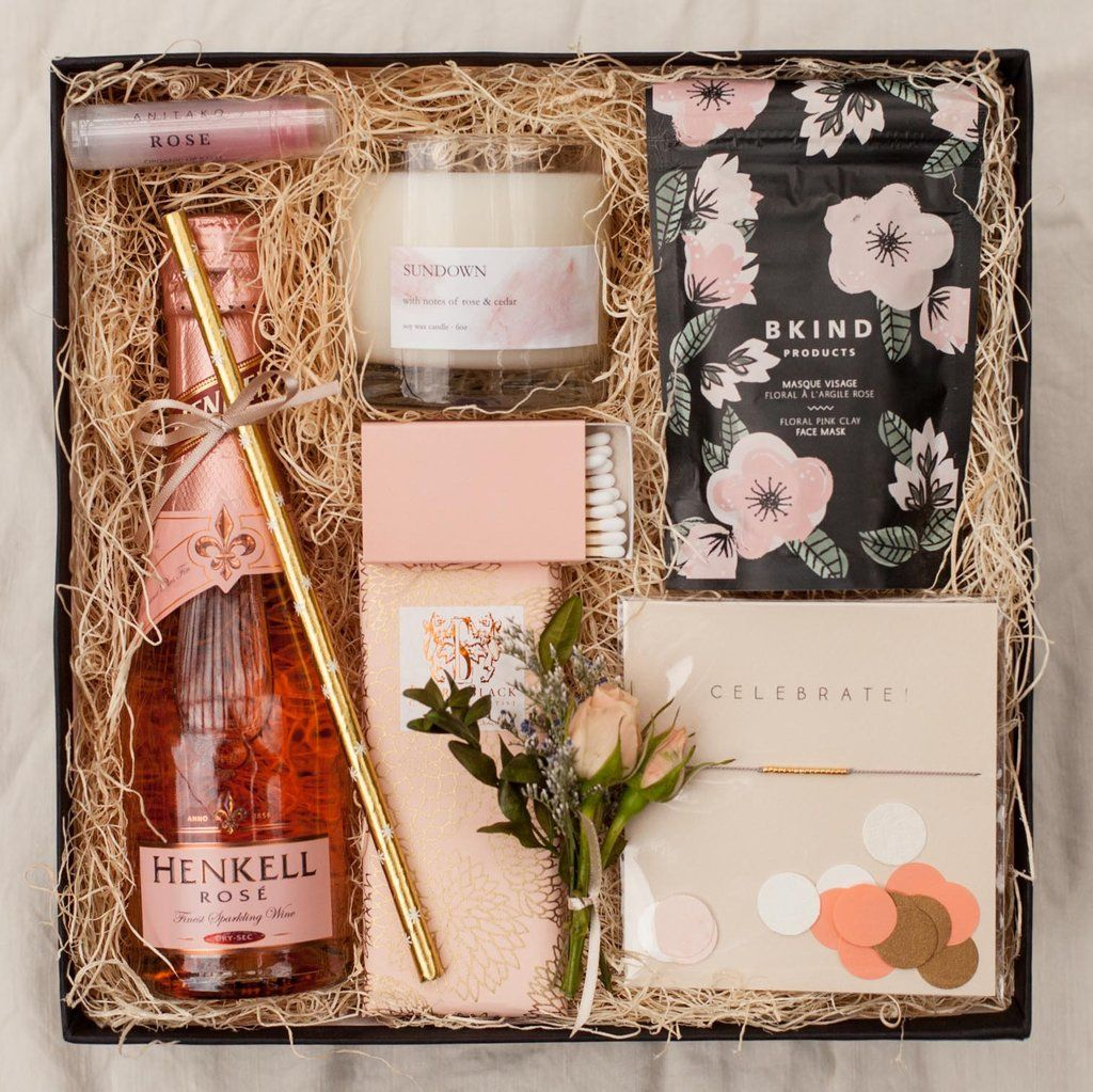 Blush box with images gifts for wedding party wedding