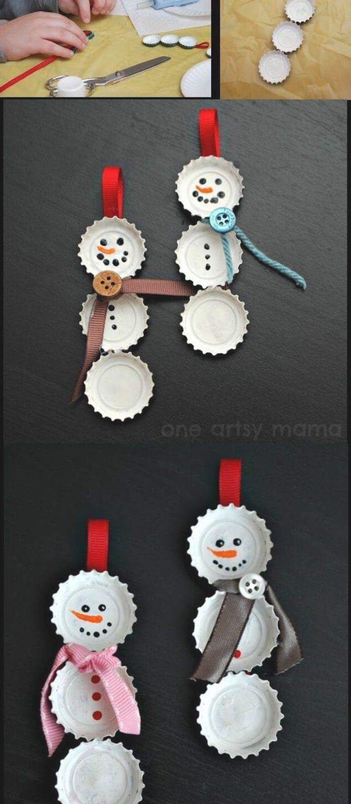 Bottle Cap Snowman | Cute and Easy Christmas Ornament Ideas #christmas #christmasdecor #christmascrafts #christmasornaments