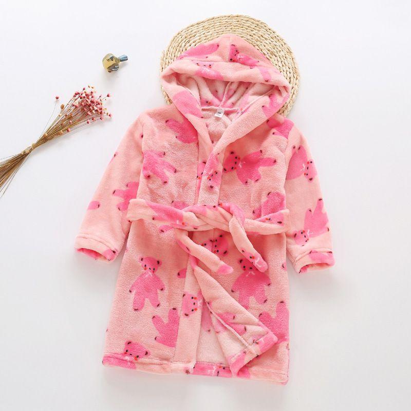 Boys Girls Bathrobes,Toddler Kids Hooded Robes Soft Childrens Flannel Bathrobes Hoodie Pajamas Sleepwear for Girls Boys