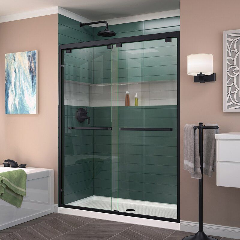 Encore 44 W X 76 H Bypass Semi Frameless Shower Door With Clearmax Technology Sliding Shower Door Frameless Sliding Shower Doors Frameless Bypass Shower Doors