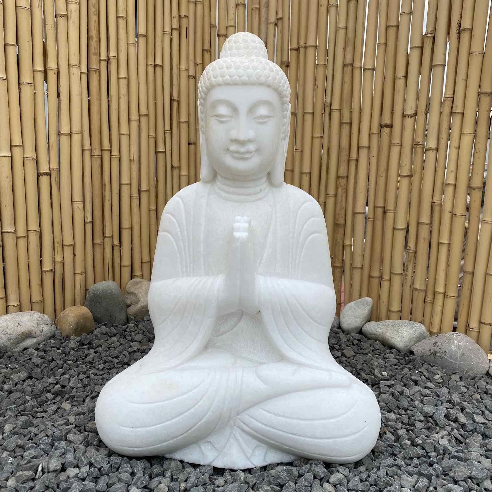 Garten Buddha Statue Marmor 62cm Namaskar Mudra Figur In 2020 Buddha Statuen Buddha Figur Lachender Buddha