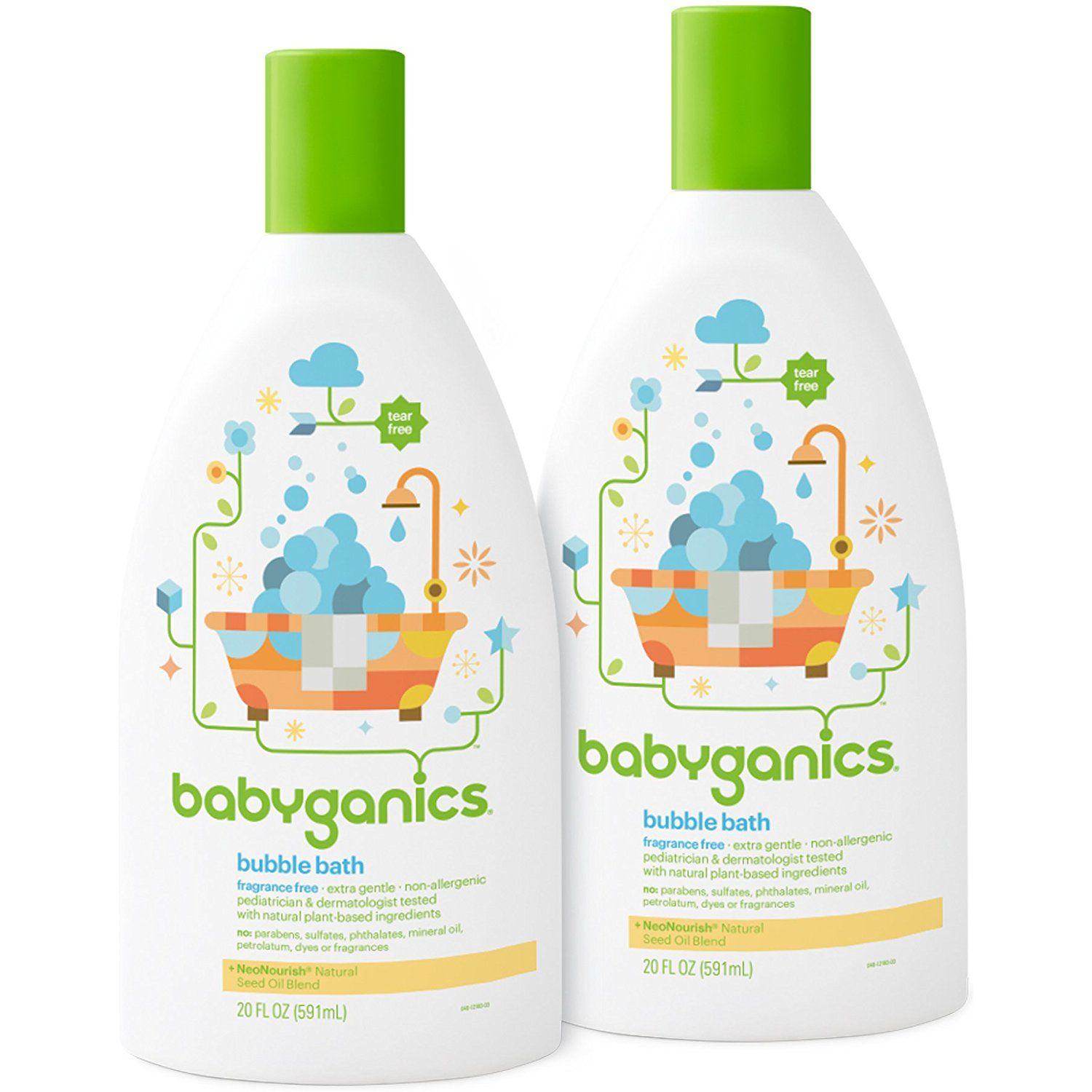 Babyganics Baby Bubble Bath Fragrance Free 20oz Bottle Pack Of