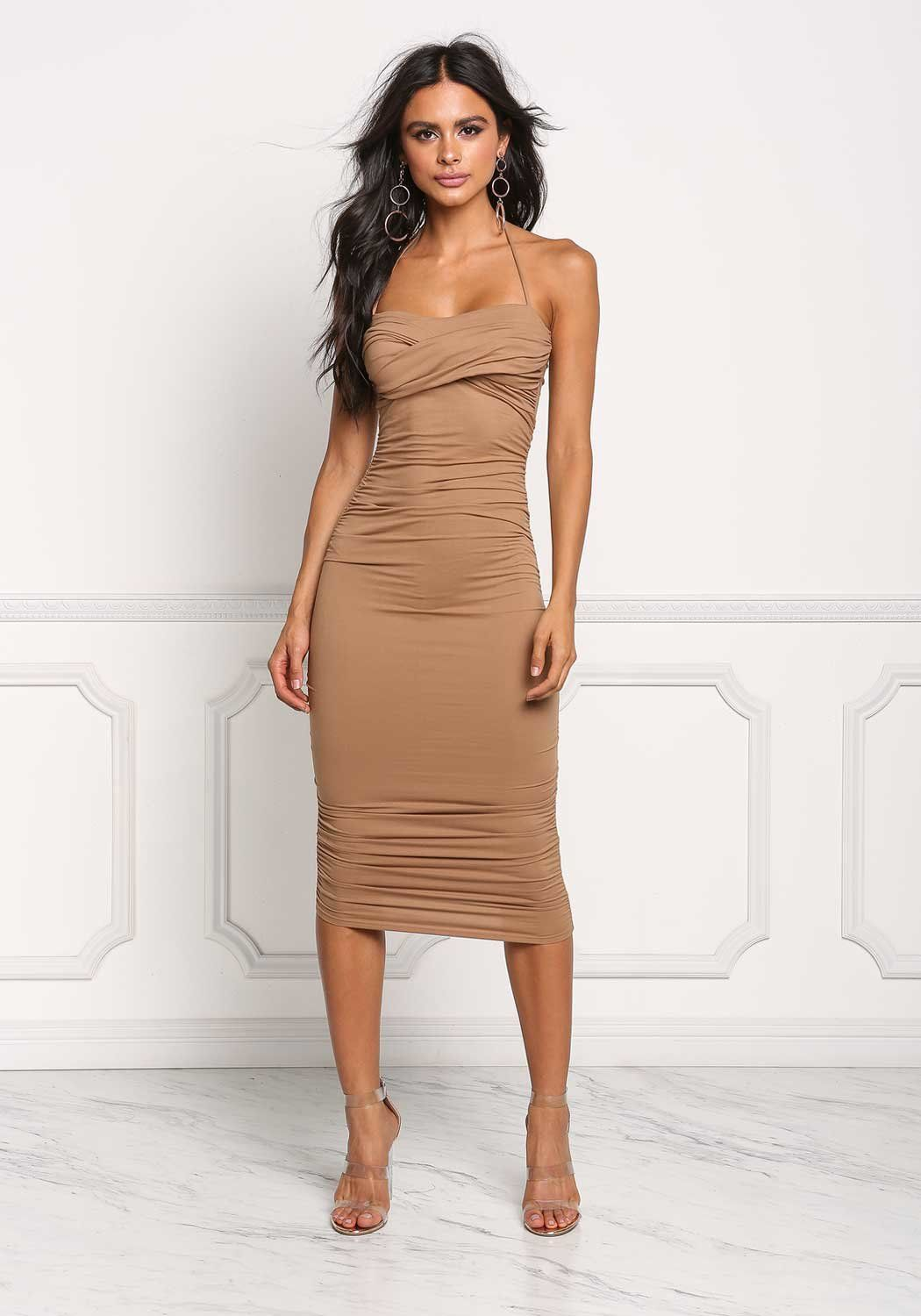 69c1a0712e3d Junior Clothing | Mocha Ruched Halter Bodycon Dress | Loveculture.com