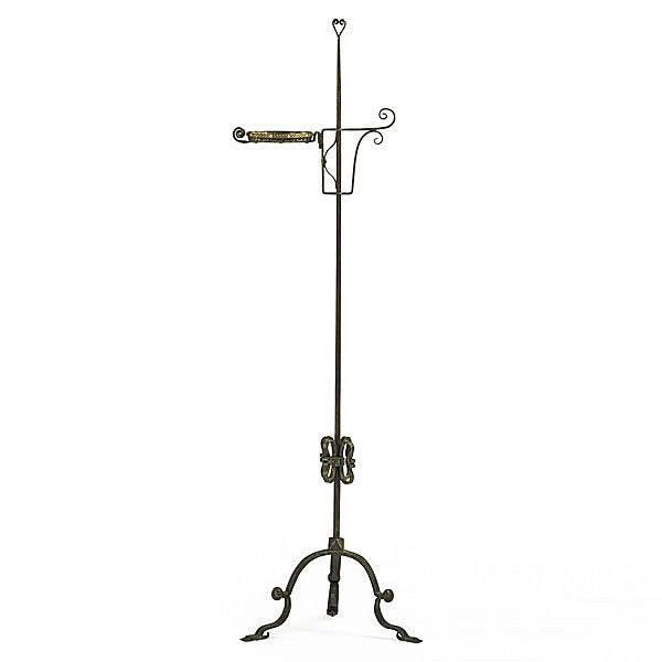 samuel yellin metalworkers; rare and tall candle stand