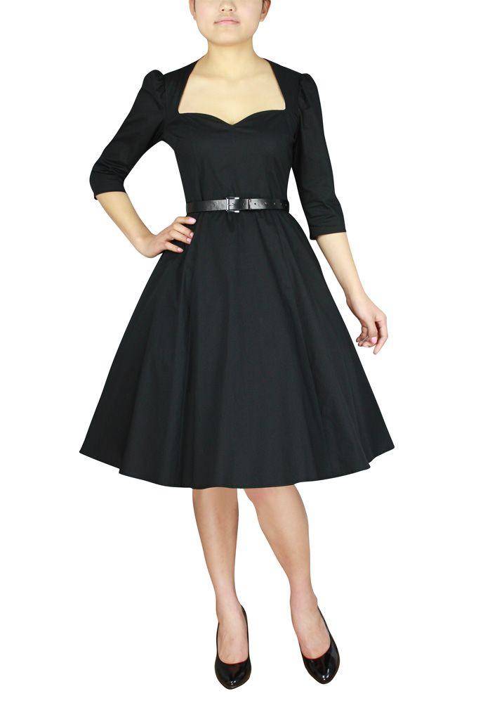 robe r tro vintage col coeur noire dressing parfait pour quinqua fashion pinterest coeur. Black Bedroom Furniture Sets. Home Design Ideas