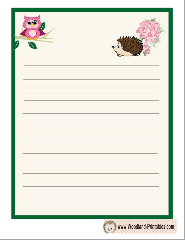 Writing Paper Printable Featuring Hedgehog  Free Printables
