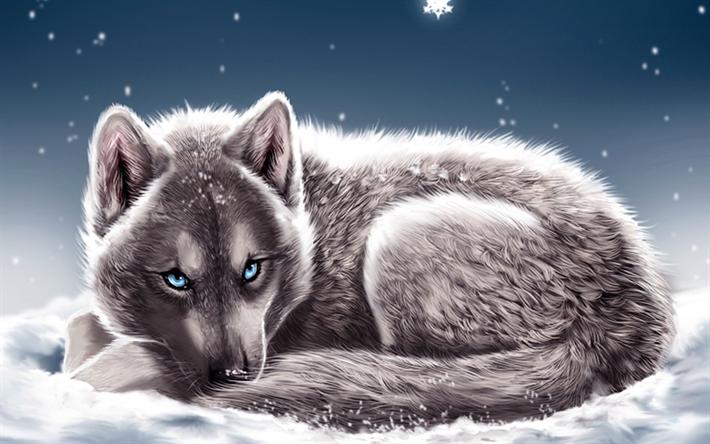 Photo of Herunterladen hintergrundbild wolf, schneeverwehungen, winter, schneeflocken, blau, augen, fantasie, kunst, raubtiere besthqwallpapers.com