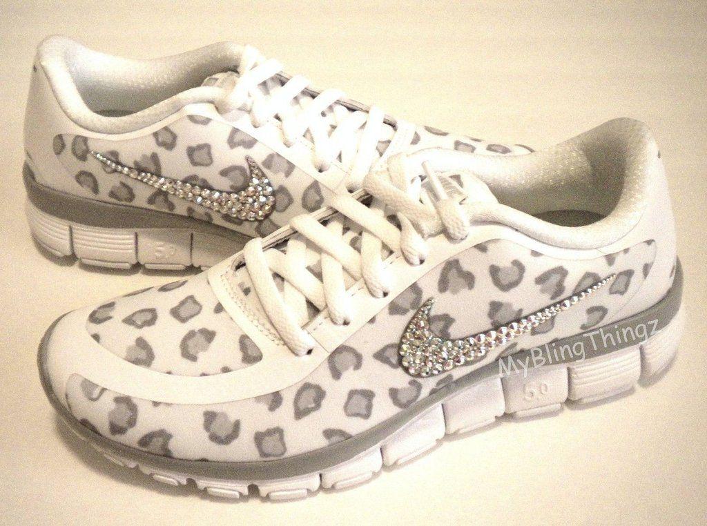 c6f3a093c49c Bling Nike Free 5.0 V4 w  Swarovski Crystals WHITE GREY PLATINUM CHEETAH  Leopard