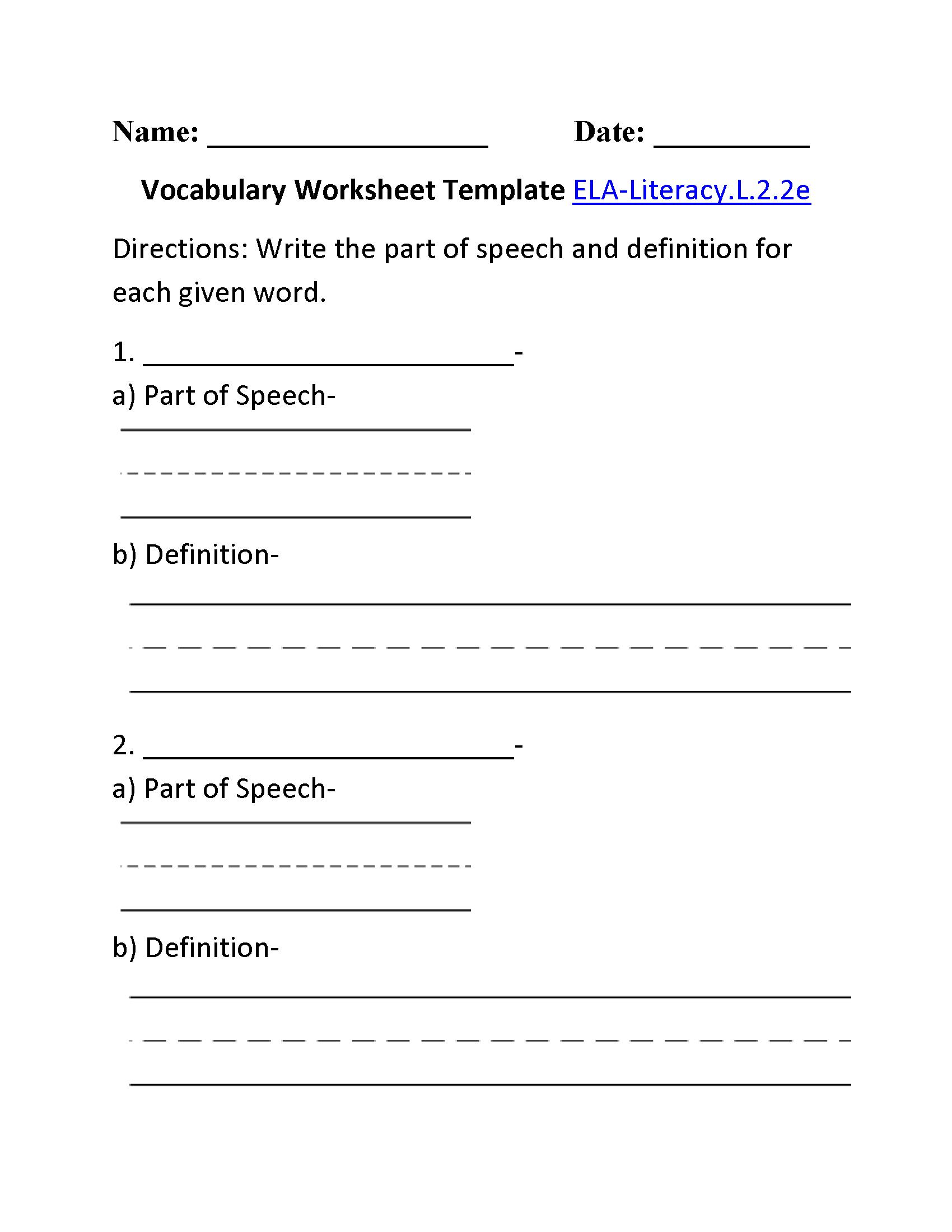 Vocabulary Template 2 Ela Literacy L 2 2e Language