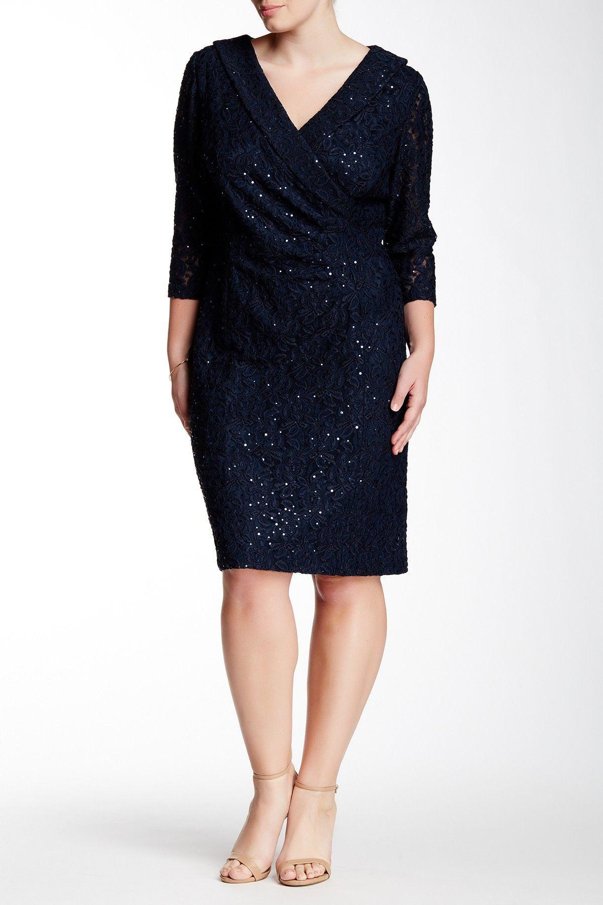 Shawl Lace Sheath Dress (Plus Size) by Tahari on @nordstrom_rack