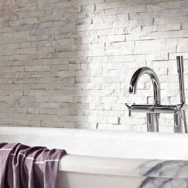15x60cm White Quartz Maxi Split Face Tile