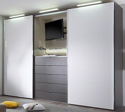 Staud media light schwebet renschrank kleiderschrank mit tv fach viele farben schlafzimmer - Kleiderschrank mit fernseher ...