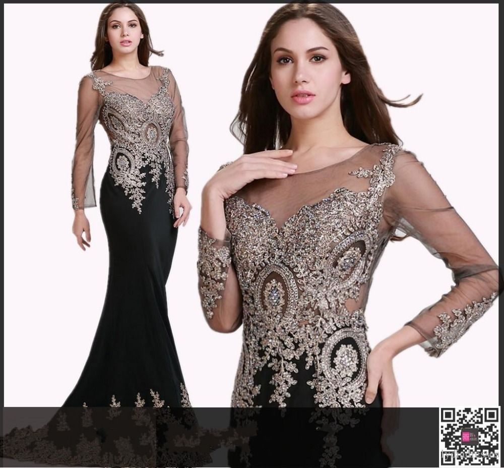 Sheer long sleeve formal evening dresses real gown crew