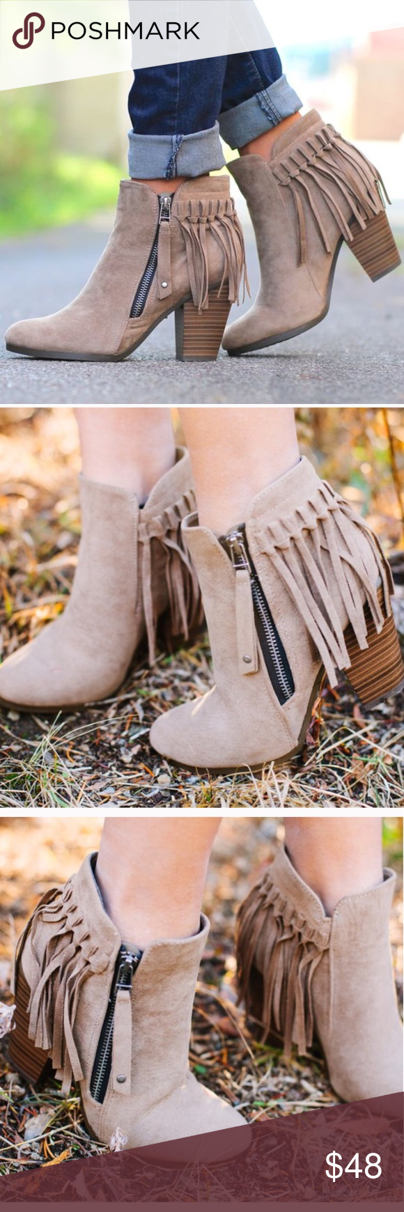 """🚨1 HR SALE🚨Hello Fall Fringe Bootie - BEIGE Super comfy and chic faux suede fringe bootie. Fits TRUE TO SIZE. Faux suede with fringe behind heel. Working side zipper.   ~Material: Faux Suede (man-made) ~Sole: Synthetic Measurement Heel Height: 3"""" (approx) Shaft Length: 6.75"""" (including heel)  NO TRADE, PRICE FIRM Bellanblue Shoes"""