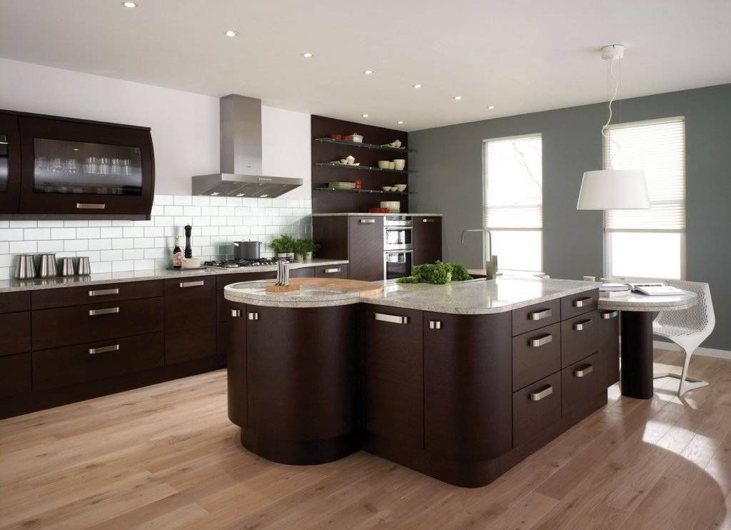 Great Italian Kitchen Design With Dark Brown Cabinet And Wooden