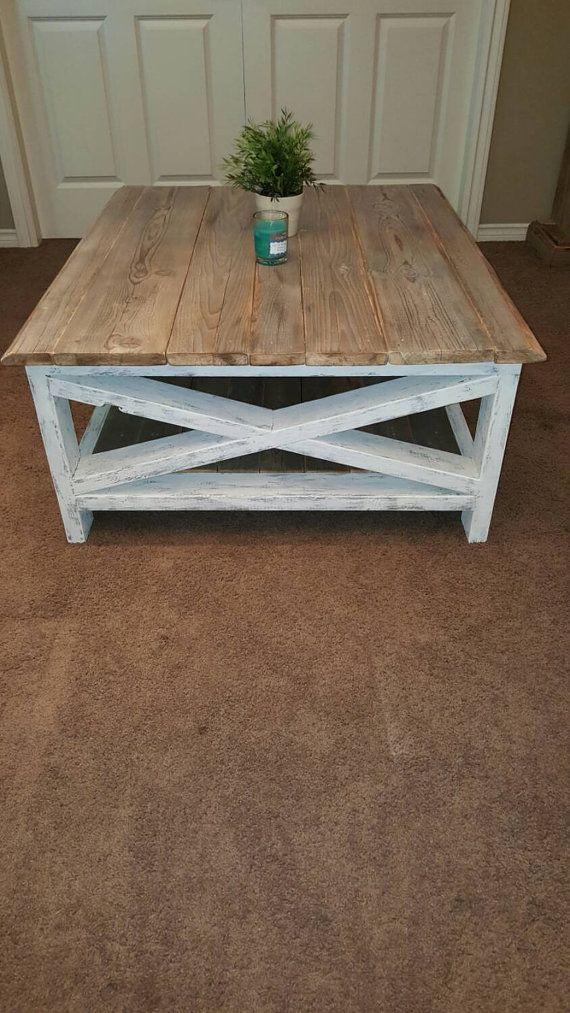 Diy Distressed Wood Top Coffee Table Farmhouse Decor Living