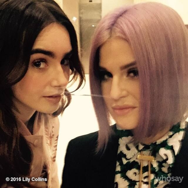 Fashionable run-in with my neighbor who happens to have the same plans I do tonite. It's gunna be a fun one @Kellyosbourne and @Stellamccartney #palegirlssticktogether #andapparentlyattractweirdlighting...