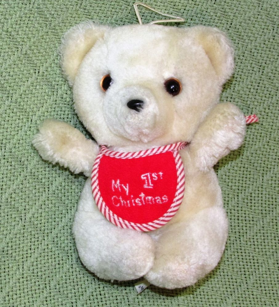 Vintage Eden Teddy Bear My 1st Christmas White 6 Plush Stuffed Made