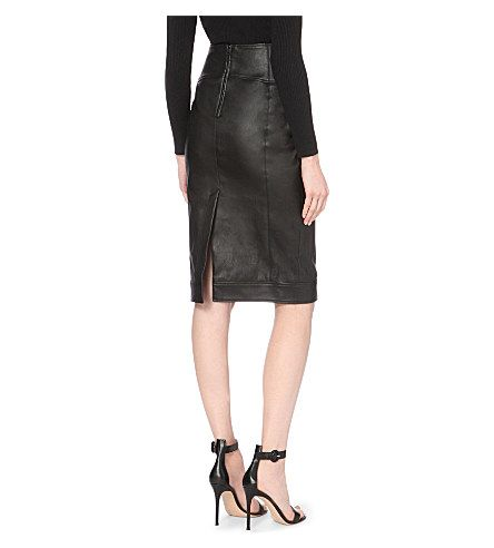 TOM FORD High-rise leather pencil skirt