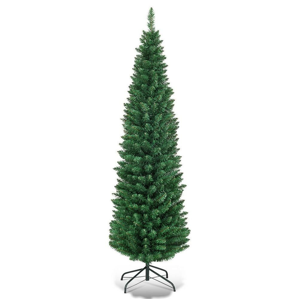 Costway 5 Ft Pvc Unlit Artificial Slim Pencil Christmas Tree With Stand Home Holiday Decor Green Cm20653 The Home Depot In 2020 Unlit Christmas Trees Slim Christmas Tree Pencil Christmas Tree