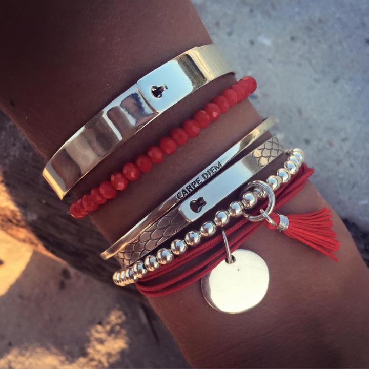 L'atelier Argent Composition De Bracelets D'amaya 925 Rouge QCxBWrdoe