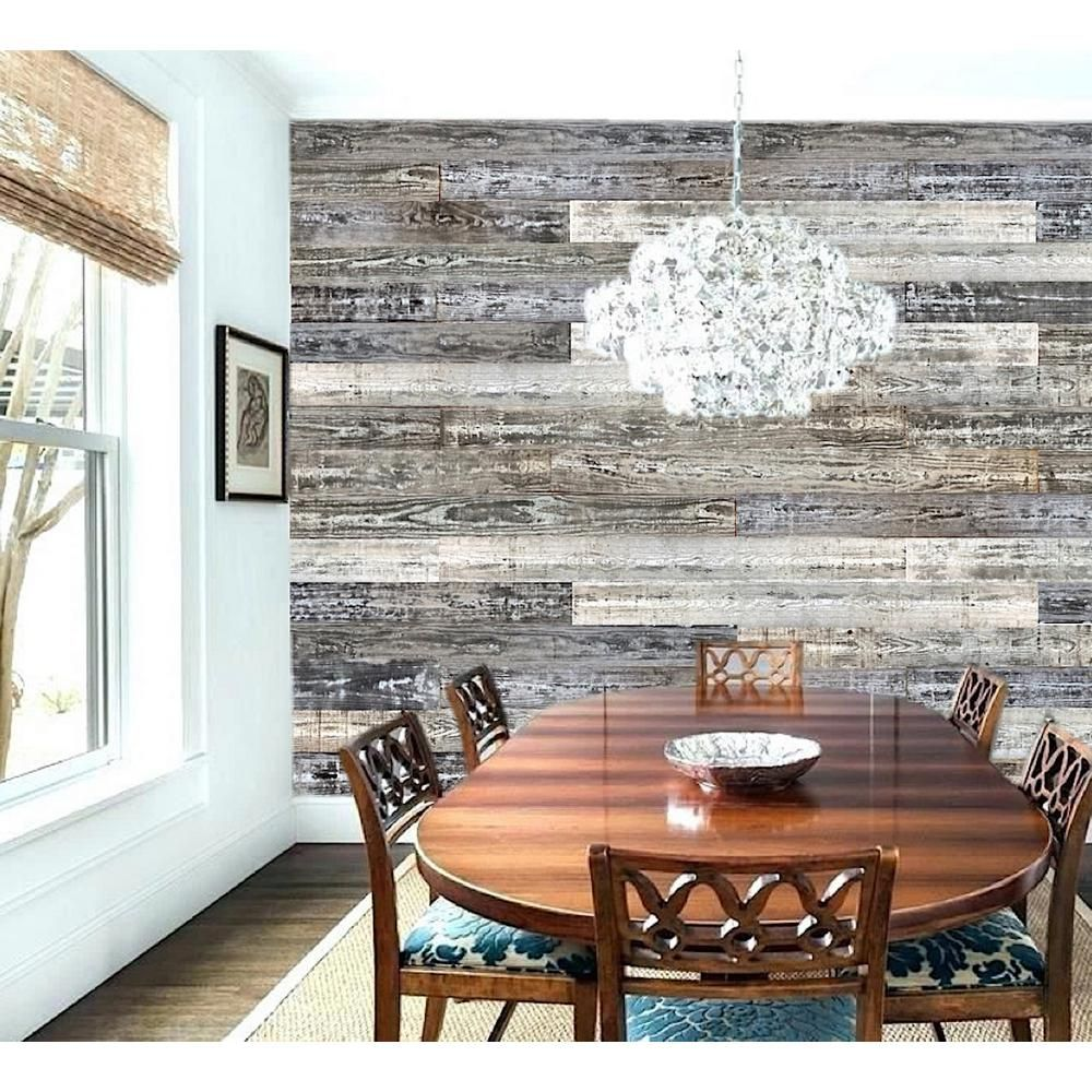 Easy Planking Thermo Treated 1 4 In X 5 In X 4 Ft Whitewash Barn Wood Wall Planks 10 Sq Ft Per 6 Pack 11338 The Home Depot Wood Panel Walls Wooden Planks On Wall Wall Planks