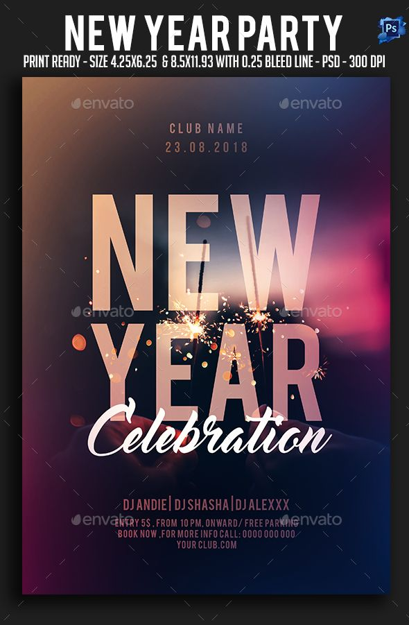 New Year Party Flyer Template PSD #nye | New Year Party Flyer ...