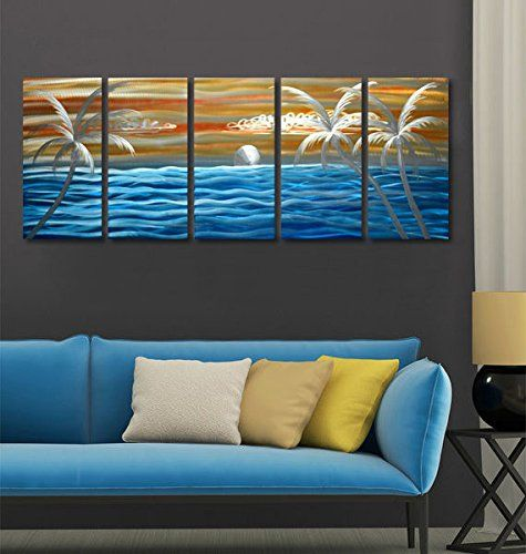 Tropical Blue Ocean Excellent Seascape Metal Wall Art Original Abstract Painting on Aluminum Board Large inout door Modern Contemporary Sculpture Decorative Artwork set of 6 panels 24x65 -- You can find more details by visiting the image link. (This is an affiliate link and I receive a commission for the sales)