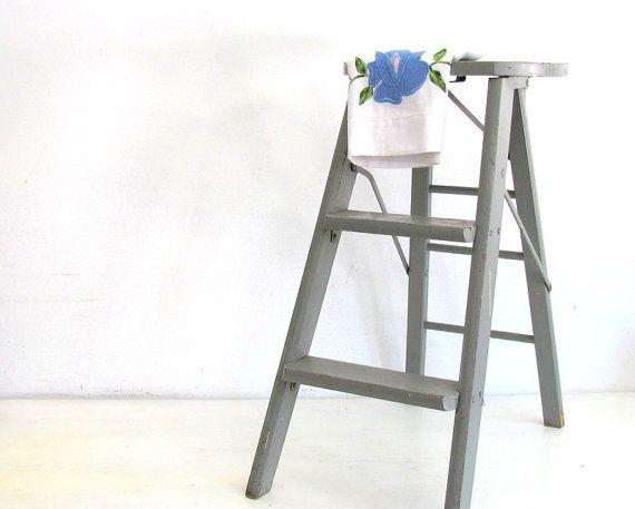 Vintage Wood Ladder Step Stool Folding Ladder Kitchen