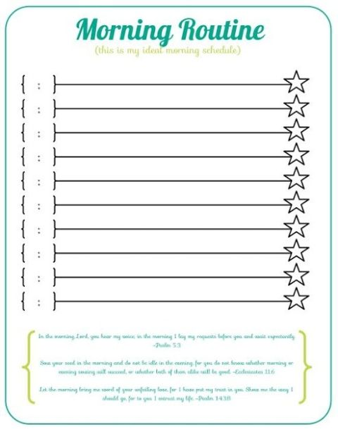 Morning Routine Checklist Template from i.pinimg.com